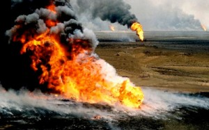 Man Made Disaster: The Kuait Oil fires (source: disasterium.com)